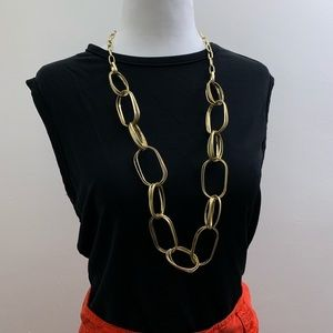 MACY'S Gold Double-Linked Long Chain Necklace NWOT